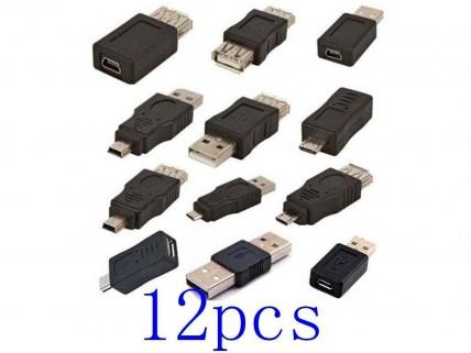 Набор переходников 12шт. miniUSB/microUSB/USB