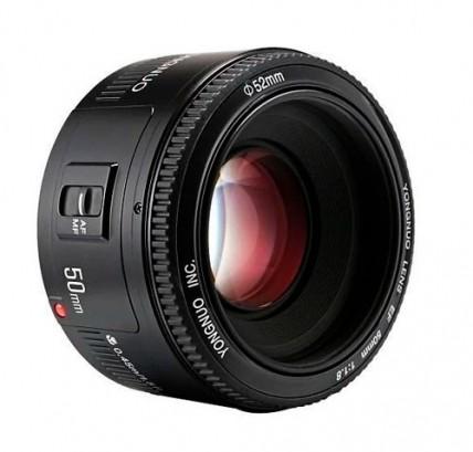 Объектив на Canon YN 50mm F/1.8 EF с блендой и чехлом